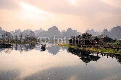 """Alu-Dibond-Bild 60 x 40 cm: """"Landscape in Yangshuo Guilin, China .."""", Bild auf Alu-Dibond"""