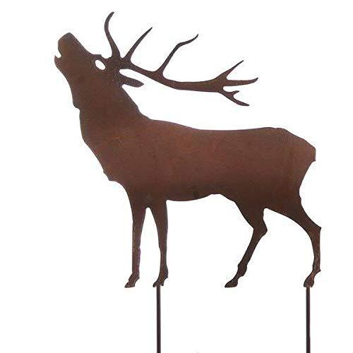 Wunderschöner & Hochwertiger Gartenstecker - Tier Figur - Rost Stecker/Tierfigur - Große Auswahl - Edelrost Gartenfigur - Metall Gartendeko (Hirsch - Länge 75cm)