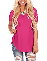 Fliegend Camiseta Oversize para Mujer Manga Corta Top Blusa de Verano  Casual Camisas de Cuello Redondo 0ab56a28efb
