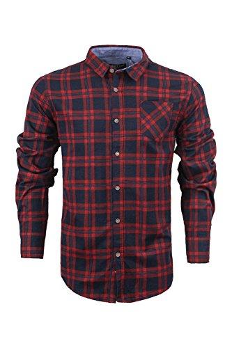 Herren Langärmliges Shirt von Brave Soul gebürstete Baumwolle Flanell  kariert Holzfällerhemd, SXL Navy Red Blue 0df4afdd05