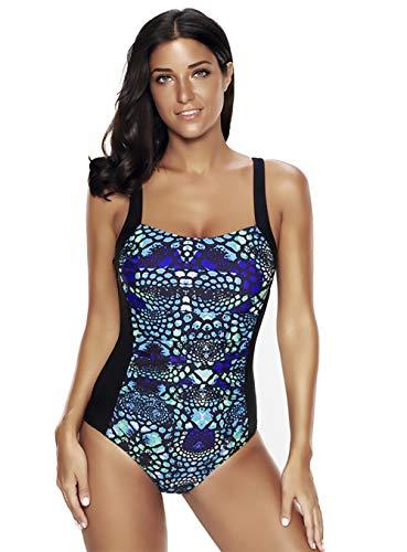 Reteron Damen-Badeanzug mit dicken Trägern und Bauchkontrolle, Einteiler, Größe M-XXXXL - Mehrfarbig - 4X-Large -