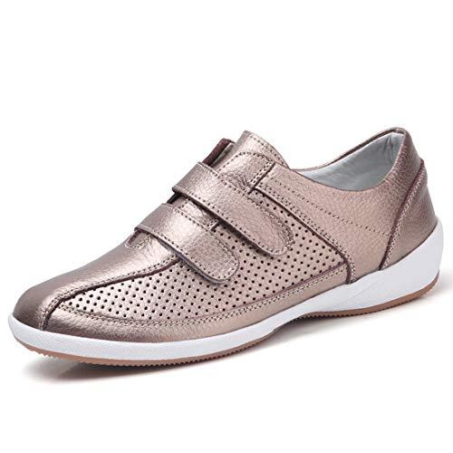 Z.SUO Mocasines para Mujer de Cuero Planas Cómodo y Transpirable Loafers Moda Planos Zapatos de Conducción38...