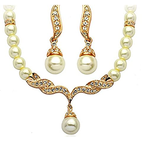 LUFA Femmes Bead Eau Drop Dangle Collier Boucles D'oreilles Set Dinner Dress Bride Bijoux