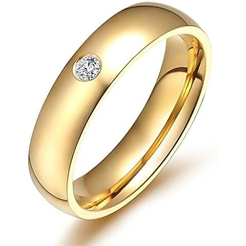 Alimab Gioielli Donne Anelli Acciaio Inossidabile Rotondo Zirconia Cubica - Vintage Diamante Solitario