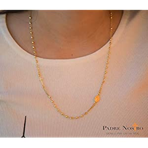 Collana Rosario Uomo Donna In Argento 925 Placcato Oro Giallo Collane Rosari Preghiera Madonnina Croce