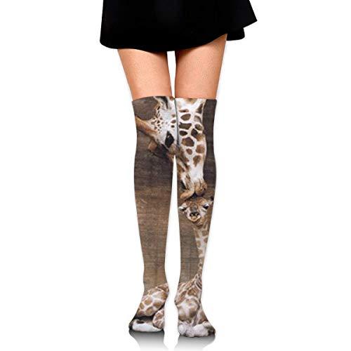Wfispiy Giraffe, Mother Love Compression Socks Foot Long Stockings Knee High Socks for Men Women Supports Sport Running Cycling Football Slim Leg Travel Medical Nursing - Slim Snowboard
