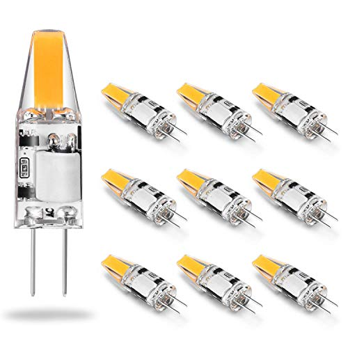 Eco.Luma Ampoule G4 LED 12V AC/DC, 2W Equivalent 10W 20W Halogène Lampe, COB LED Chip, 210LM, Blanc Chaud 2800K, 360° Angle de Faisceau, Non-Dimmable, Pack de 10