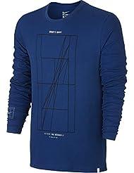 Nike Court FR OPN Agassi LS - Camiseta manga larga para hombre, color azul, talla S