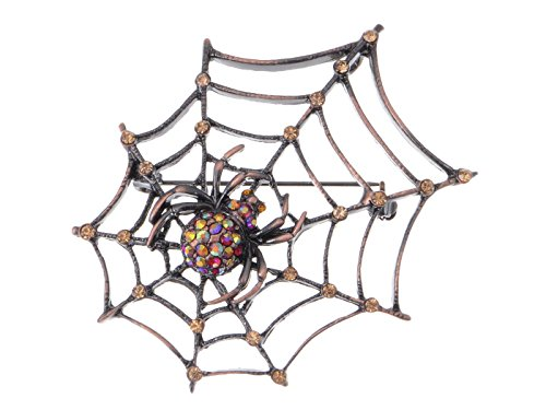 fer Light Topaz Strass Antike Spinnen Netz Halloween Spinnenetz Brosche (Halloween Brosche)