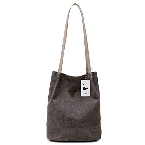 Damen Segeltuch Handtasche / Schultertasche / Retro Schultertasche (Grau) (Segeltuchtasche)