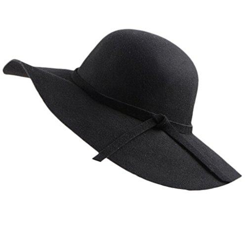 Sombrero de ala ancha, de Chendongdong. De felpa, estilo vintage. Tipo pamela Negro negro Talla única