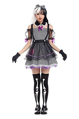 Nihiug Masquerade Party Party Schulter Sexy Maid Uniform Horror Schwarz Und Weiß Maid DS Anzug Kostüm Teufel Versuchung Schule,A
