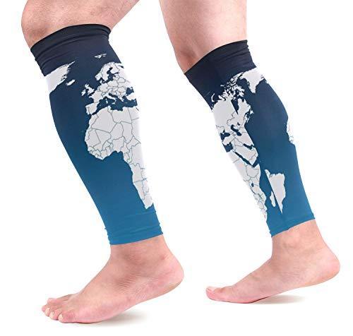 Weltkarte Wadenkompressionsmanschetten Schienbeinschoner Wadenschmerzlinderung beim Laufen, Radfahren, Reisen, Spo