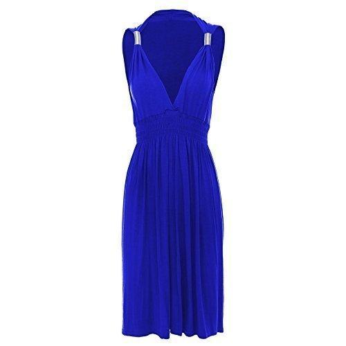 Oops Outlet - Robe Femme Courte Grecque Jersey Basique Ressort aux Bretelles Sans Manche Grande Taille - S/M (FR 36/38), Bleu Roi