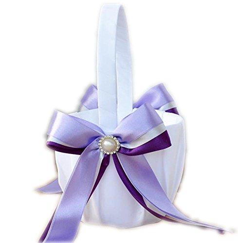 XYX Hochzeit Korb blumenkorb hochzeit streukorb hochzeit präsentkorb Hochzeit Zubehör Perle Garland Satin Bowknot Blumen-Mädchen-Korb Neue, lila