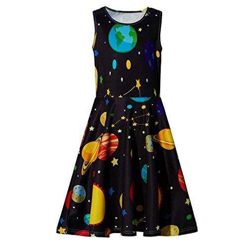 LSAltd Mode Jugend Teen Kinder Mädchen Sommer Lässig Planeten Drucken Ärmellos Plissee Swing Party Kleid