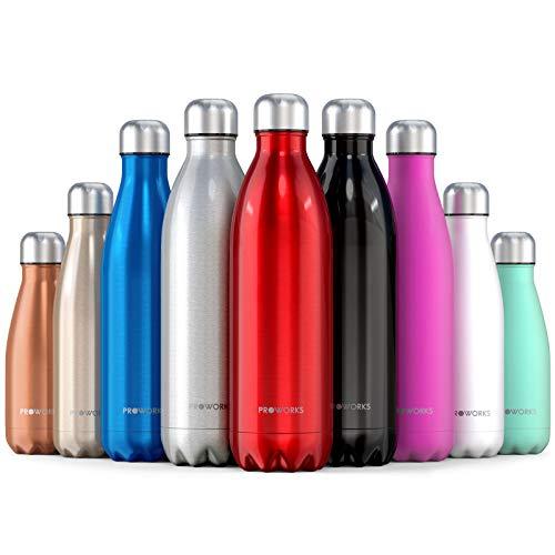 Proworks Edelstahl Trinkflasche | 24 Std. Kalt und 12 Std. Heiß - Premium Vakuum Wasserflasche - Perfekte Isolierflasche für Sport, Laufen, Fahrrad, Yoga, Wandern und Camping - 750ml - Rot - Dunkle Braune Farbe Finish
