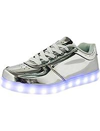 (Present:kleines Handtuch)Silber EU 35, Silber) 43, leuchten Glow Luminous (Größe Flashing USB-Lade LED Damen Herren Turnschuhe mode Sportschuhe