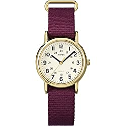 Timex Women's Quartz Watch with Beige Dial Analogue Display and Nylon Strap