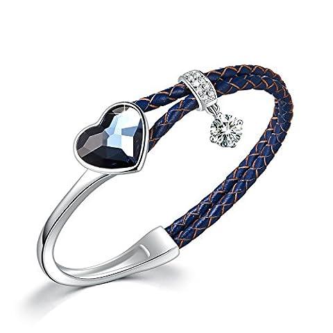 """Echt-Leder Armband """"Edge-Set Leben"""" Herz Anhänger Blau Kristall von Swarovski Damen Frauen Armband mit Metalllegierung Legierung Echtleder Armreifen"""