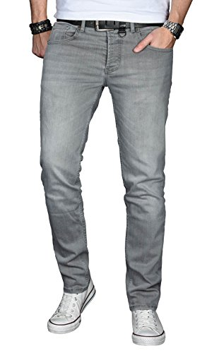 A. Salvarini Designer Herren Jeans Hose Basic Stretch Jeanshose Regular Slim [AS029 - Hellgrau - W36 L30]