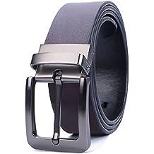 ATUSIDUN Cinturón Hombre Cuero Reversible Hebilla Giratoria Cinturon de Cuero Marrón y Negro Con Hebillas Metal Envase de Caja para Jeans Cinturones de Pantalón