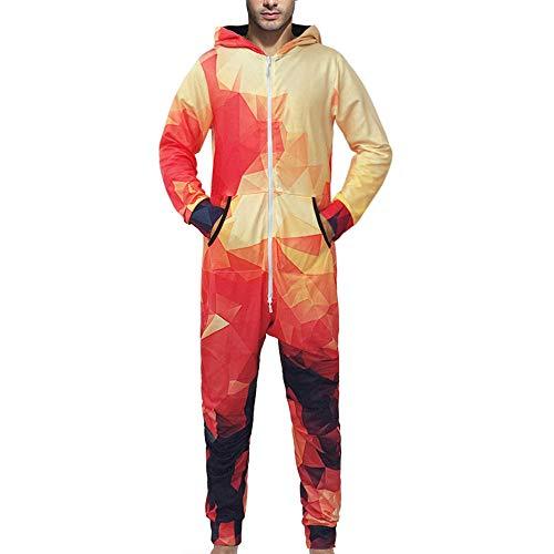 ➤Spätestens Bekleidung Oberteile,Loveso 3D-Druck Jumpsuit Herren Komfort Schlafanzug,Männer Hoodie Jumpsuit Overall Einteiler Hausanzug aus Baumwolle mit Reißverschluss und Kapuze