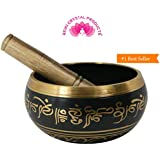 Reiki Crystal Products Singing Bowl | Tibetan Buddhist Prayer Instrument With Wooden Stick | Meditation Bowl | Music Therapy | 3.5 Inches Approx