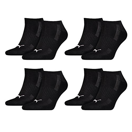 Puma 8 Paar Sneaker Socken mit Frottee-Sohle Gr. 35-46 Unisex Cushioned Kurzsocken, Farbe:200 - black, Socken & Strümpfe:43-46 -