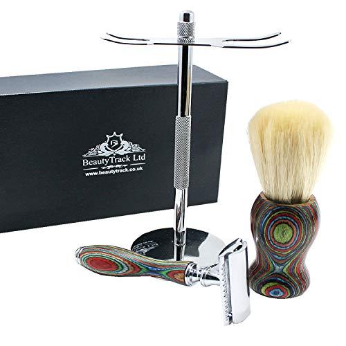 Vintage Pura Madera Afeitado Kit Para Hombres - Afeitadora de Peluquero - Cuchilla Barbero - Maquinilla Afeitar Tradicional - Navajas de Afeitar Barbero - Gran Idea de Regalo Para Navidad