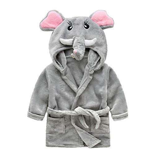 YeahiBaby Unisex Baby Mädchen Jungen Bademantel mit Kapuze Cartoon Elefant Pyjama Fleece Nachtwäsche Nachthemd Cosplay Kostüme – 90 cm (grau)