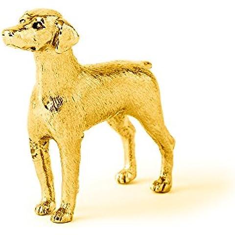 Dobermann Made in UK, Collezione Statuetta Artistici Stile Cani (con la placcatura d'oro 22 carati)