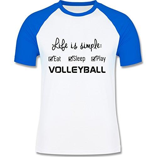Volleyball - Life is simple Volleyball - zweifarbiges Baseballshirt für Männer Weiß/Royalblau