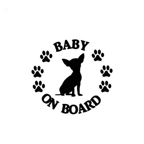 SCLZRR Pegatina De Coche Etiqueta Engomada del Coche 14Cm * 12.8 Cm Bebé A Bordo del Perro De ChihuahuaCalcomanía del Coche Reflectante Láser De Vinilo Etiqueta Engomada del Coche 3D Car Styling