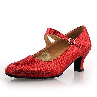 Silence @ Chaussures de danse pour femme piste de danse/moderne en similicuir Chunky Talon Argent fuchsia