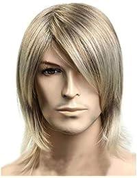 Corto Rubio Straight Cap Pelucas para Hombres 100% Handsome Style Guys y Boys Peluca sintética