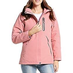 Chaqueta TéRmica EléCtrico USB Calefactable Jacket Encapuchado Invierno Mujer CáLido Ropa Impermeable para Acampar Al Aire Libre,Pink,L