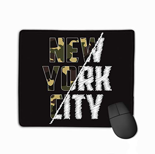 Non-Slip Thick Rubber Large Mousepad 11.81 X 9.84 Inch New York Composite Slogan Camouflage Texture Brooklyn camo Typography Spliced Embroidery Print Military -