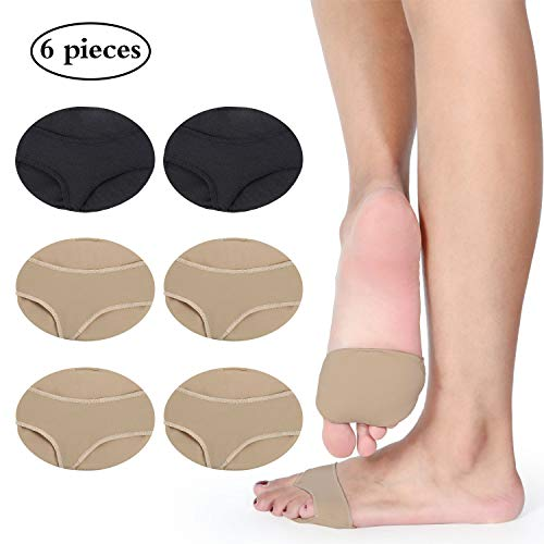6 Pièces de manchons en gel métatarse avec coussinets pour antérieurs Pieds tissu doux pour les pieds avec coussinets pour manches métatarsalgie pour prévenir les callosités (Style 2, Noir, Marron)