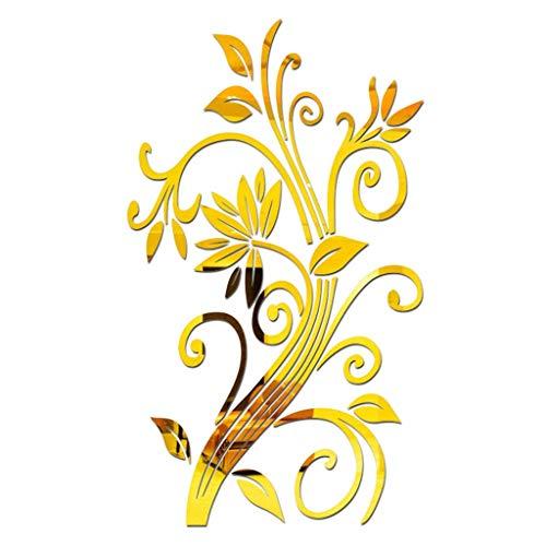 YWLINK 3D DIY Acrilico Hojas Flor Moda AcríLico Etiqueta De La Pared Moderna Pegatinas DecoracióN Sala De Estar Pared De Video