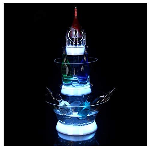 Eiskübel, Led Sektkühler Getränke Bar Ice Bucket LED-Licht Eiskübel, Bierkühler Champagner Eimer Transparent LED-Licht Eiskübel Acryl Bunte Fernbedienung 3-Schicht-LED-Farbverlauf, Geeignet Für Bars,