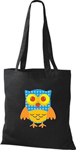 diverse niedliche ShirtInStyle Bunte Punkte Eule Jute Stoffbeutel Farbe Tragetasche Karos Retro schwarz streifen mit Owl gqrIq7wx