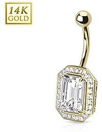 14Carat Gold Belly Button Bar Navel Piercing Princess Cut