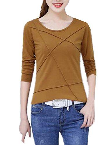 AILIENT Donna Camicia Elegante Manica Lunga Rotondo Collo Camicetta Camicie Puro Colore Slim Maglietta Moda T-Shirt Eleganti Top Khaki