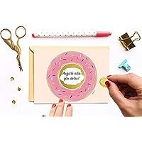 Biglietto compleanno auguri ⎪ Biglietto omaggio ciambella doughnut ⎪ Biglietti gratta e vinci ⎪ Regalo di compleanno. Carta personalizzata Scheda del buono compleanno.