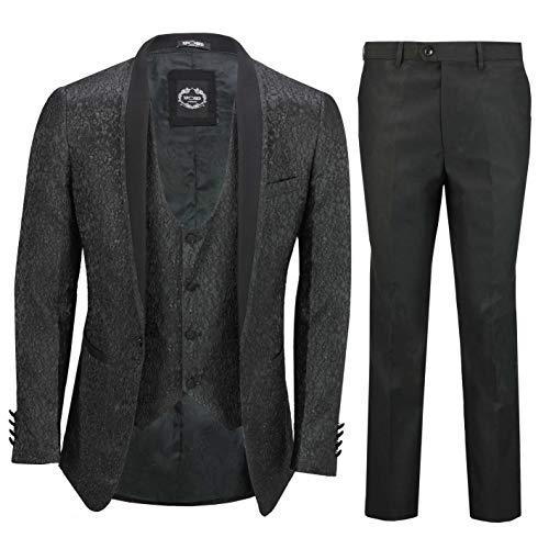 Herren Anzug, Jacquard, maßgeschneidert, Paisley-Muster, 3-teilig, Schwarz Gr. 58 DE,Hosen 107 cm, Schwarz - Paisley-hosen-anzug