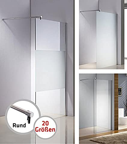 CLP Edelstahl-Duschabtrennung, NANO Glas, Haltestange: RUND (bis zu 3 Glasfarben und 20 Größen wählbar) halbmilchglas, 80 x 200 x 150 cm
