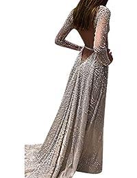 d7a5135da0 Holywin Vestido de Fiesta de Baile de Fiesta de Baile de Lentejuelas de Las  Mujeres Vestido Largo y Dorado de…