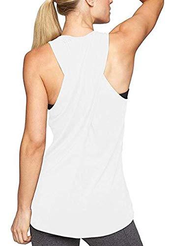 Lofbaz Frauen Cross Back Yoga Shirt Aktivbekleidung Trainings Racerback Tank Top - Nicht-gerade Weiss #5-4XL -