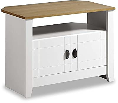 ValuFurniture Ludlow Painted White and Oak TV Stand/Entertainment Cabinet
